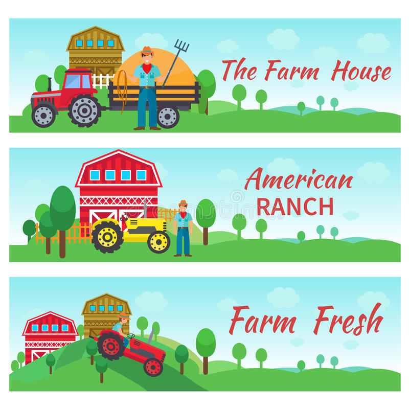 Tractor Driver Flat Banners. Tractor driver banners horizontal set with farm house american ranch flat elements isolated vector illustration stock illustration
