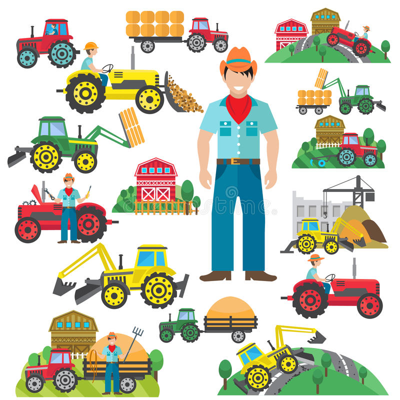 Tractor Driver Icons Set Flat stock illustration