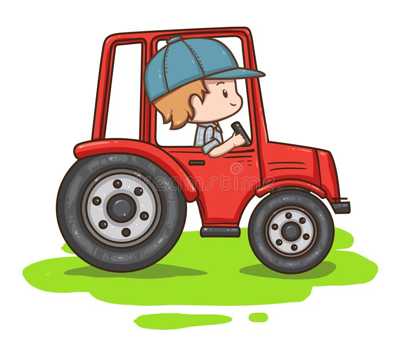 Tractor driver isolated on white background. Vector illustration of cute chibi character. Tractor driver isolated on white background. Farmer in cap and shirt royalty free illustration