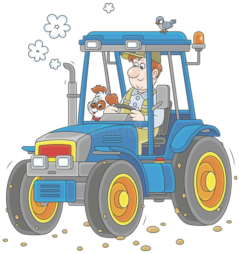 Tractor driver with a small dog stock illustration