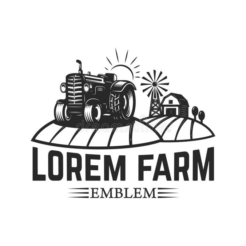 Free Tractor Emblem. Farmers Market. Design Element For Logo, Label, Sign Royalty Free Stock Photos - 132530008