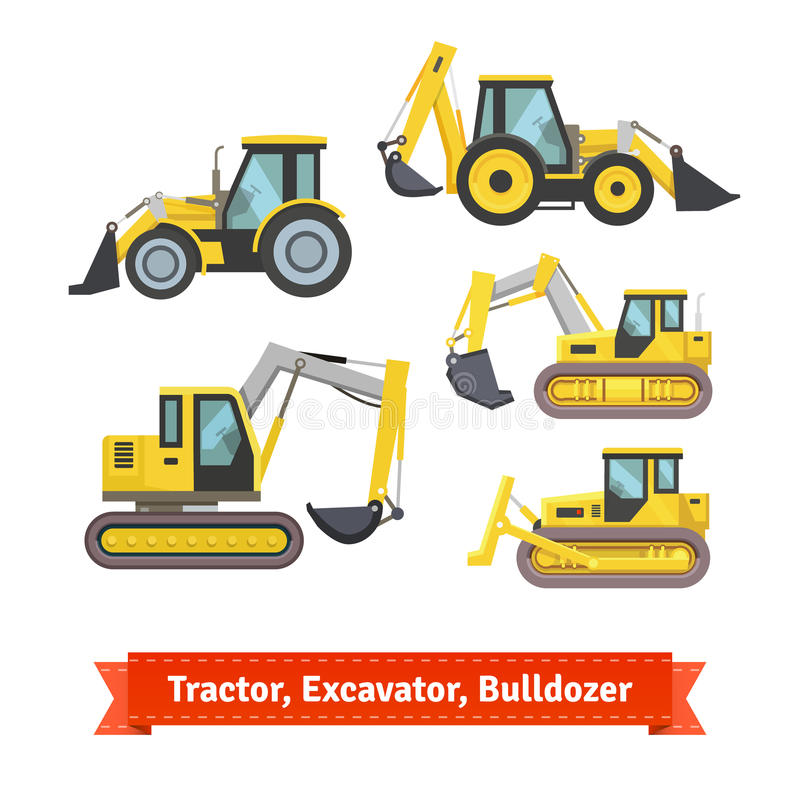 Tractor, excavator, bulldozer set. Wheeled and caterpillar type with blade and backhoe. Flat style illustration or icon. EPS 10 vector royalty free illustration
