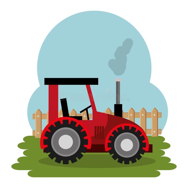 Tractor in the farm scene. Vector illustration design stock illustration