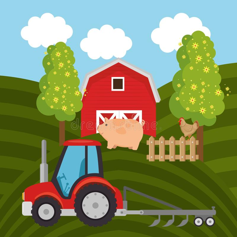 Tractor in the farm scene. Vector illustration design vector illustration