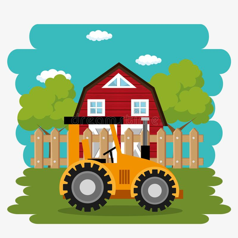 Tractor in the farm scene. Vector illustration design royalty free illustration