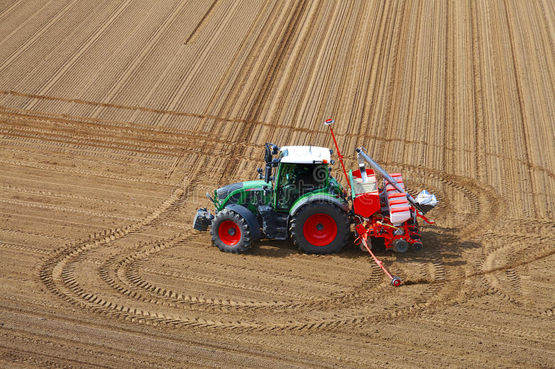 Tractor in the field stock photos