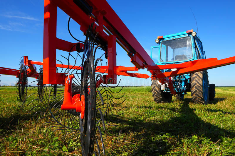 Tractor on a farmer field royalty free stock photos
