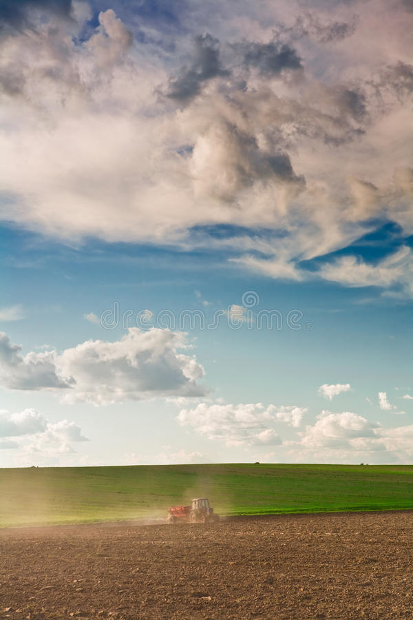 Tractor on a field. Agriculture procesing sky field royalty free stock images