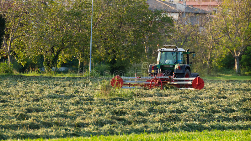 Tractor on a field. Close up of a tractor working on a field, cutting hay, autumn, rural life royalty free stock photos