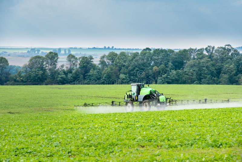 Tractor in field young shoots sprinkles royalty free stock photo