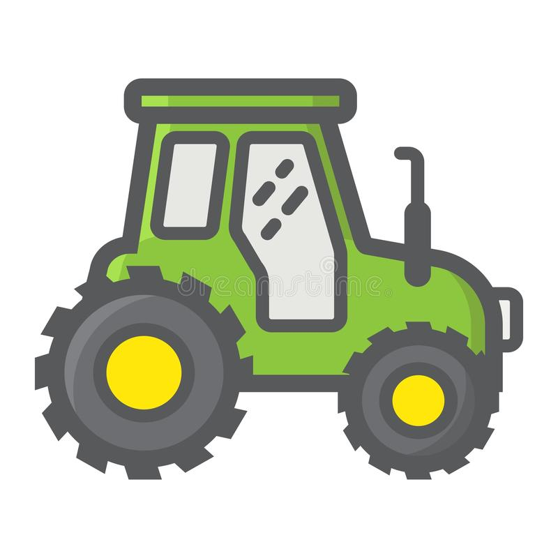 Tractor filled outline icon, transport and vehicle stock illustration