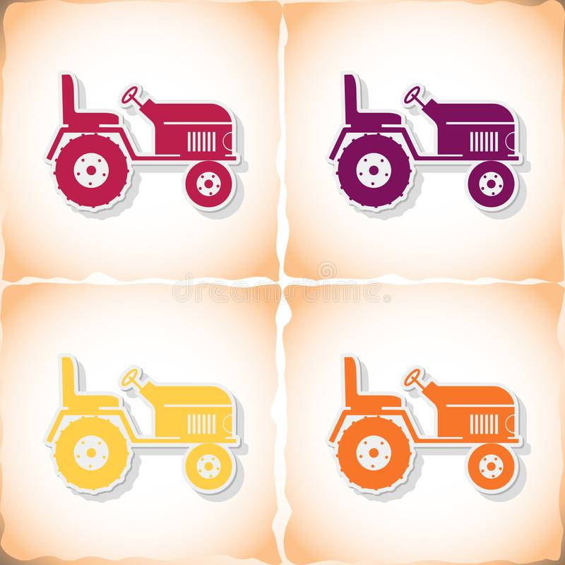 Tractor. Flat sticker with shadow on old paper. Vector illustration stock illustration