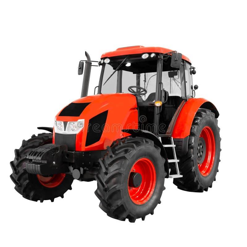 Tractor genérico agrícola rojo nuevo y moderno aislado en el fondo blanco fotos de archivo libres de regalías