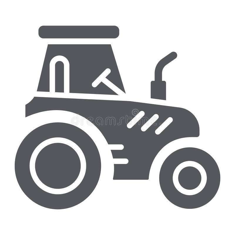 Tractor glyph icon, transportation and agriculture, harvest machine sign, vector graphics, a solid pattern on a white. Background, eps 10 vector illustration