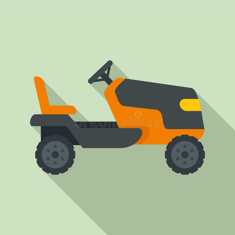 Tractor grass cutter icon, flat style. Tractor grass cutter icon. Flat illustration of tractor grass cutter vector icon for web design royalty free illustration