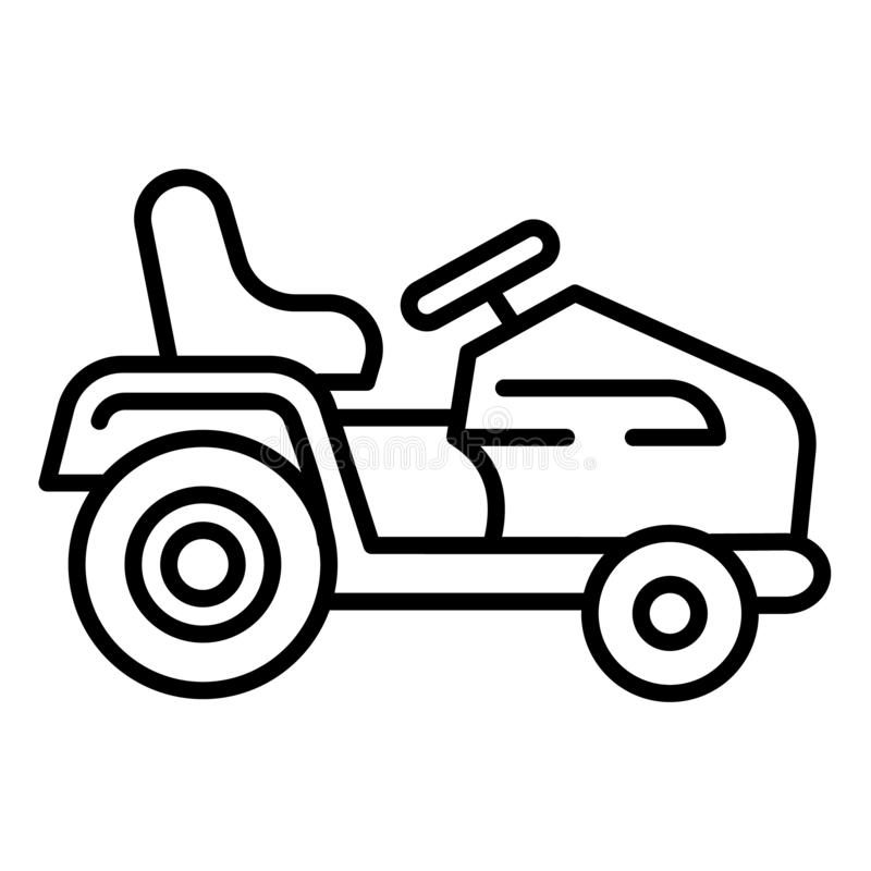 Tractor grass cutter icon, outline style stock illustration