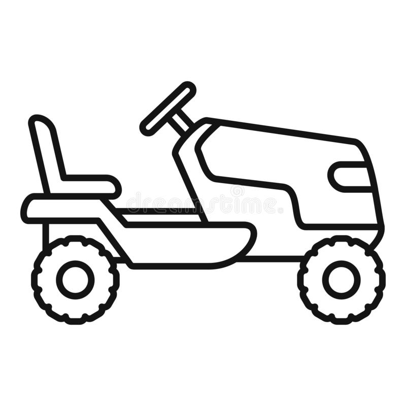 Tractor grass cutter icon, outline style. Tractor grass cutter icon. Outline tractor grass cutter vector icon for web design isolated on white background royalty free illustration