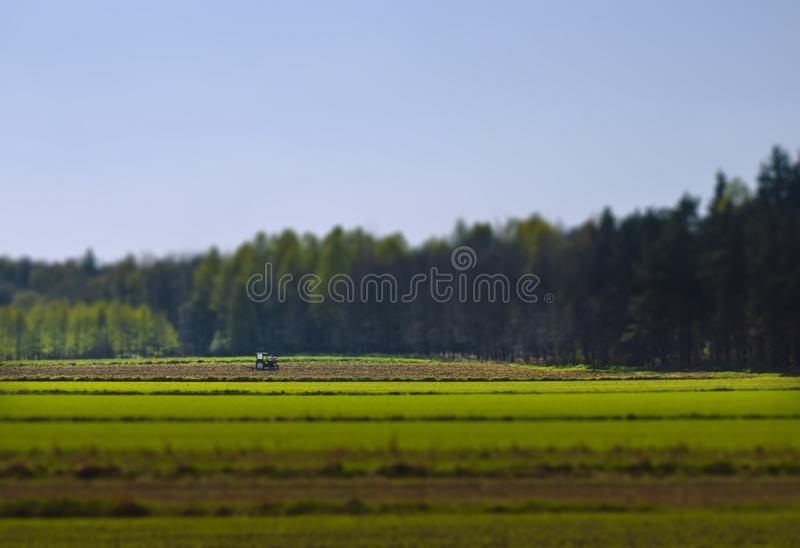 Download Tractor On Green Field, Tilt Shift Stock Image - Image: 21248071