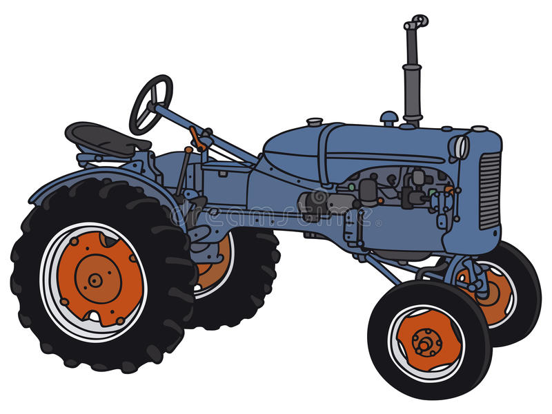 Tractor. Hand drawing of a blue classic tractor royalty free illustration