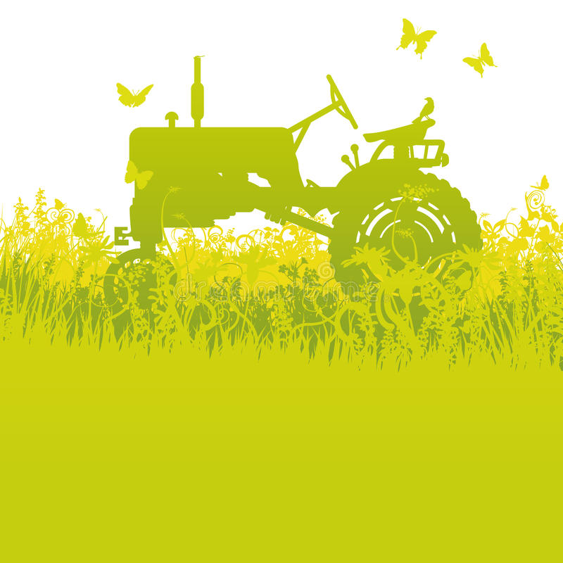 Tractor at the harvest vector illustration