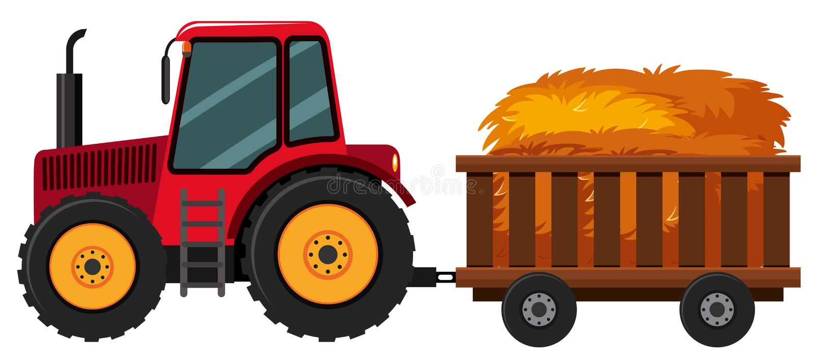 Tractor with hay in the cart. Illustration vector illustration