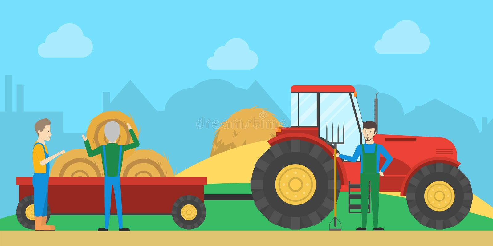 Tractor with haystack. People work on farm with machines stock illustration