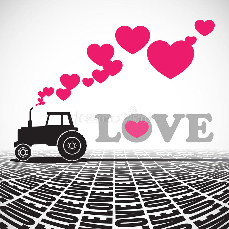 Tractor and hearts. Abstract illustration with tractor and hearts stock illustration