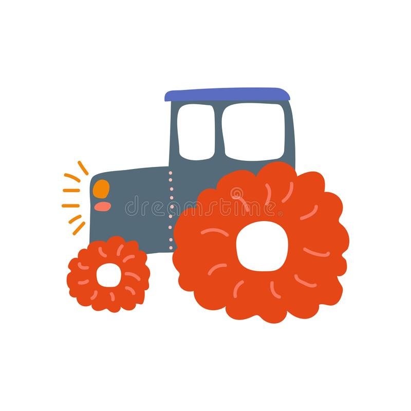 Tractor, Heavy Agricultural Industrial Machinery, Side View, Cartoon Vector Illustration. On White Background royalty free illustration
