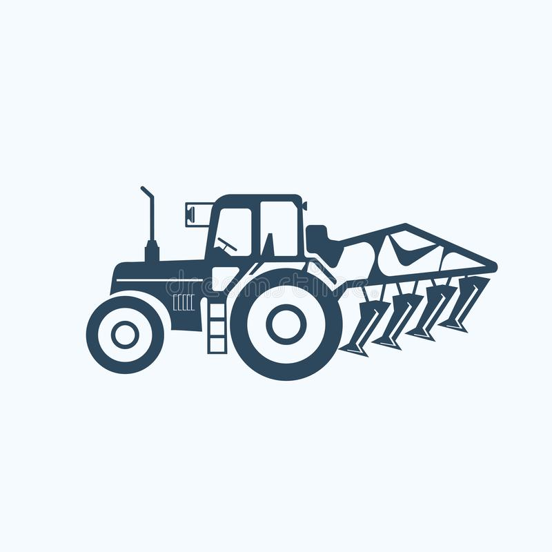 Tractor icon with tiller to plo till land. Vector on white royalty free illustration