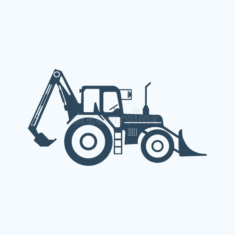 Tractor icon with higher lift and bale spake. Vector on white stock illustration