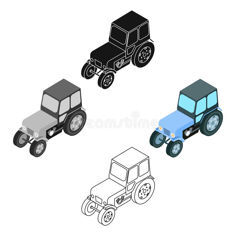 Tractor icon in cartoon,black style isolated on white background. Transportation symbol stock vector illustration. Tractor icon in cartoon,black design isolated royalty free illustration