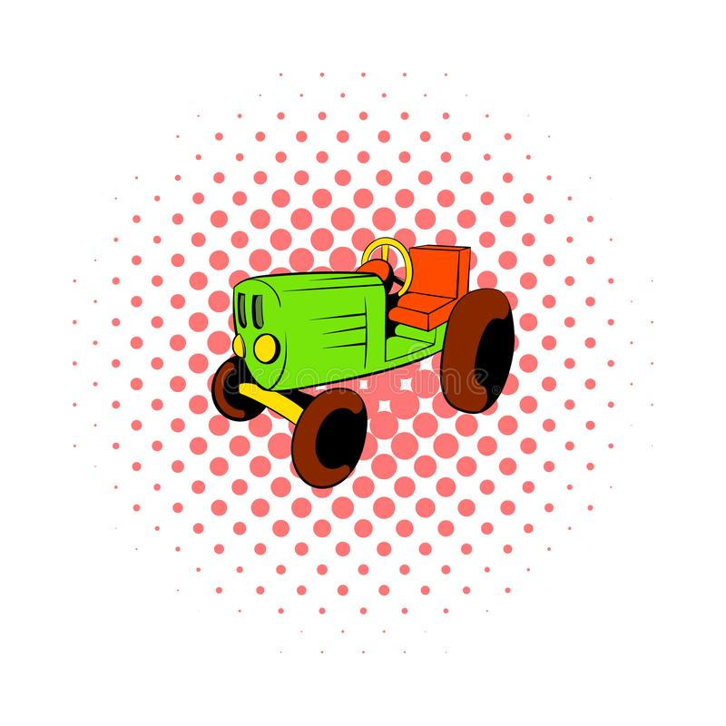 Tractor icon in comics style. On a white background royalty free illustration