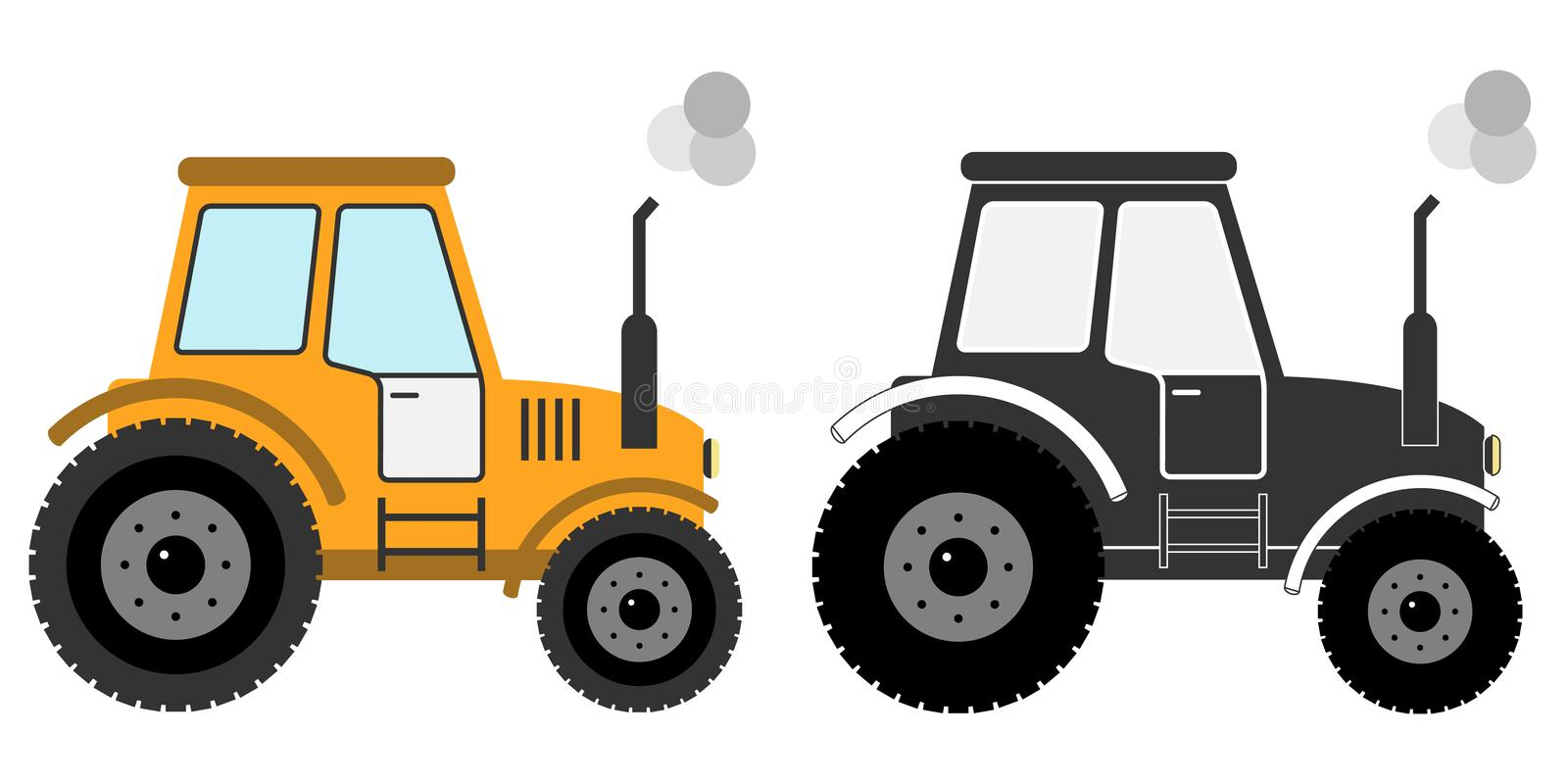 Tractor icon. Flat design, illustration stock illustration