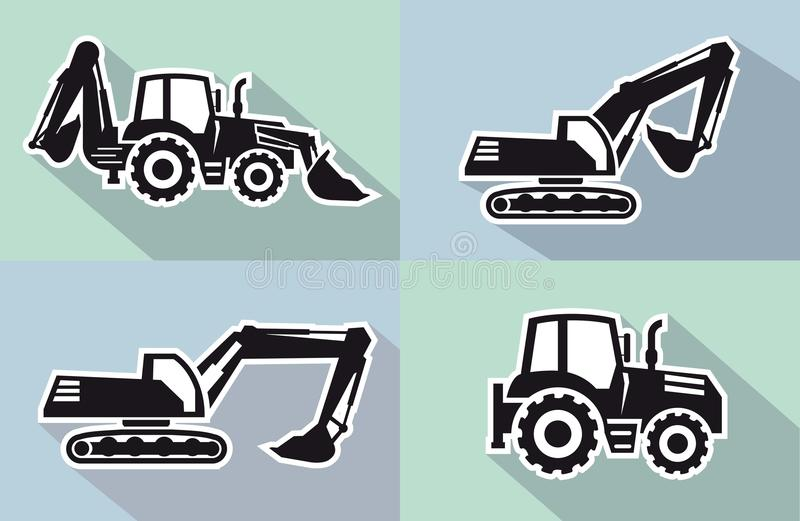 Tractor icon. Tractor one black icon on grey background royalty free illustration