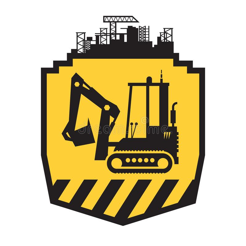 Tractor icon or sign on yellow. Background. Tractor grader bulldozer silhouette vector illustration royalty free illustration