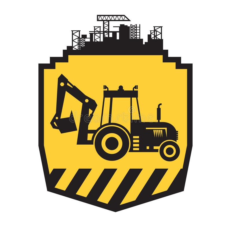 Tractor icon or sign on yellow. Background. Tractor grader bulldozer silhouette vector illustration vector illustration