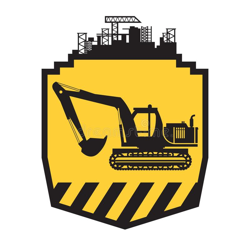 Tractor icon or sign on yellow. Background. Tractor grader excavator silhouette vector illustration stock illustration