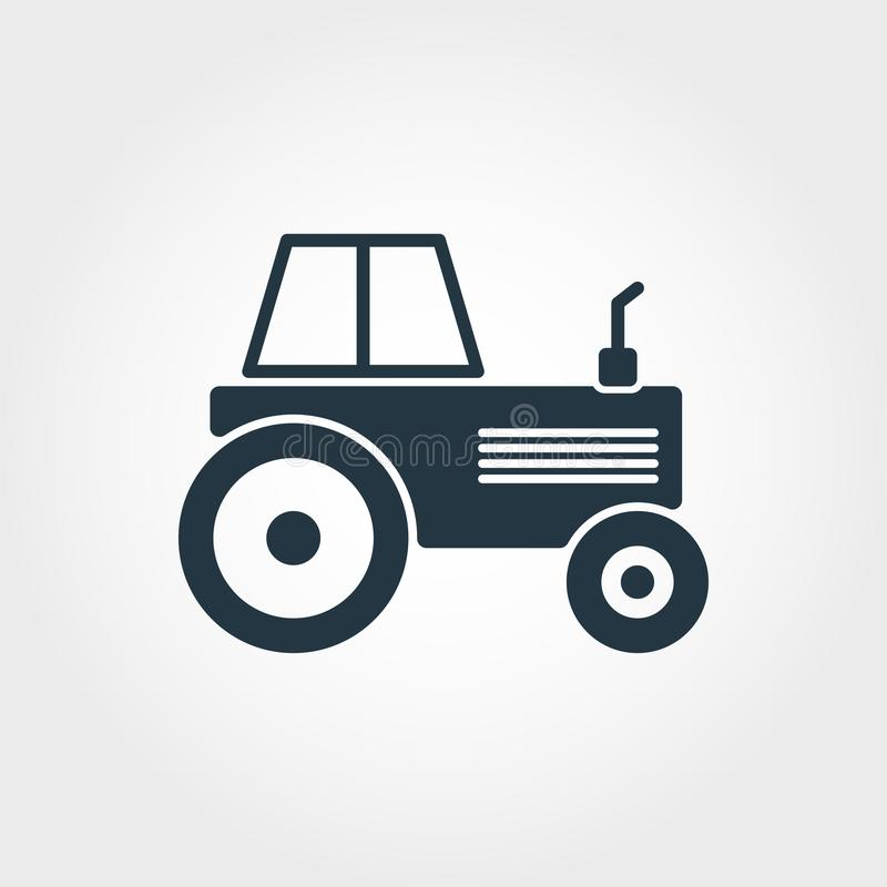 Tractor icon. Simple element illustration. Tractor pixel perfect icon design from transport collection. Using for web design, apps royalty free illustration