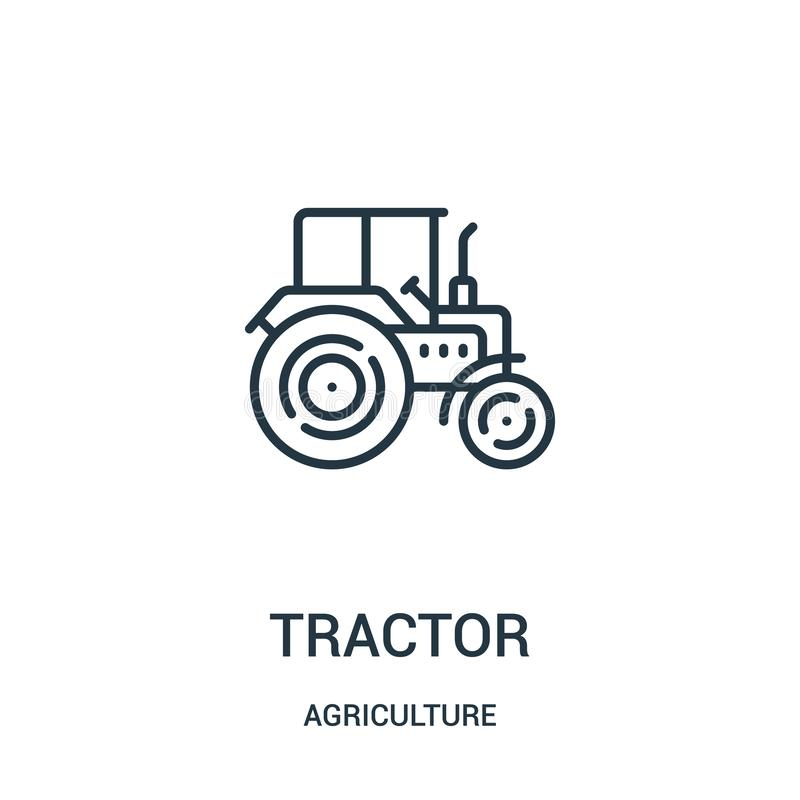 Tractor icon vector from agriculture collection. Thin line tractor outline icon vector illustration. Linear symbol for use on web. And mobile apps, logo, print stock illustration