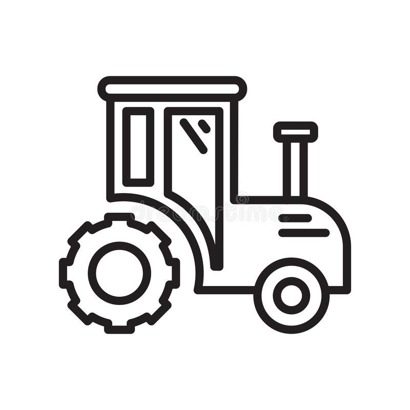 Tractor icon vector sign and symbol isolated on white background, Tractor logo concept , outline symbol, linear sign , outline. Tractor icon vector isolated on royalty free illustration