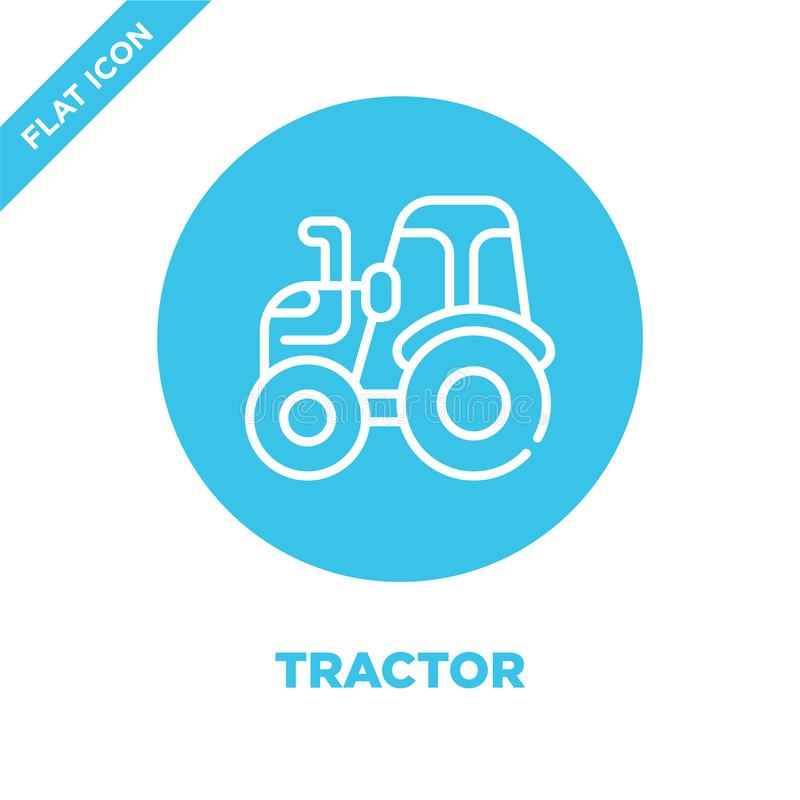 tractor icon vector. Thin line tractor outline icon vector illustration.tractor symbol for use on web and mobile apps, logo, print stock illustration