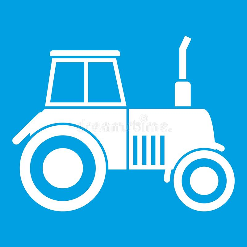 Tractor icon white. Isolated on blue background vector illustration stock illustration