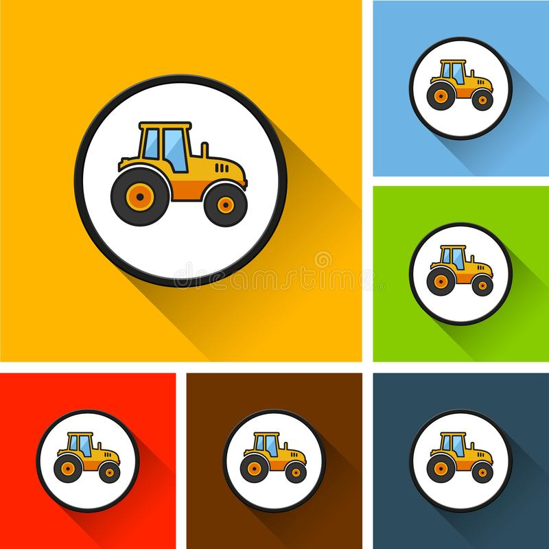 Tractor icons with long shadow vector illustration