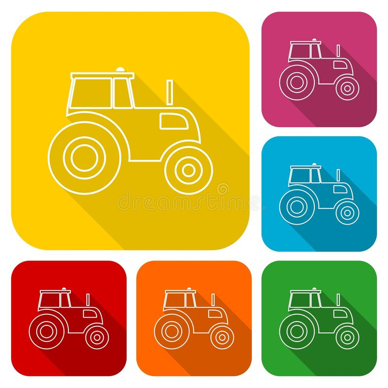Tractor icons set with long shadow stock illustration