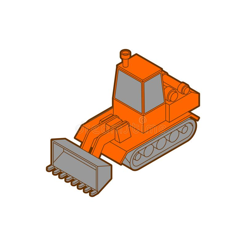 Tractor isometric style isolated. Agrimotor 3d model. bulldozer vector.  stock illustration