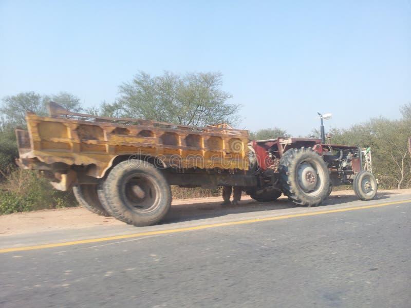 Tractor Karretje en het oogsten stock foto