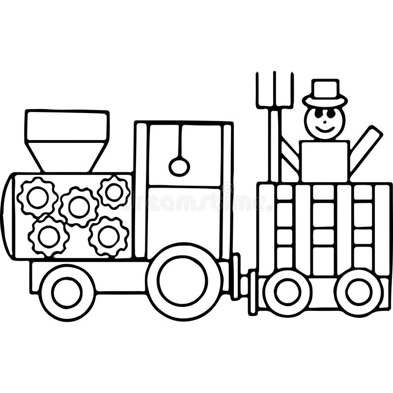 Free Tractor Kids Geometrical Figures Coloring Page Royalty Free Stock Image - 83154216