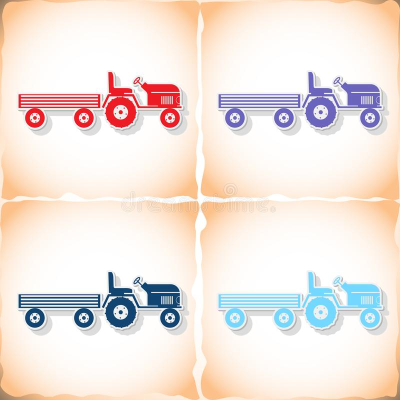 Tractor and large trailer. Flat sticker with shadow on old paper. Vector illustration stock illustration