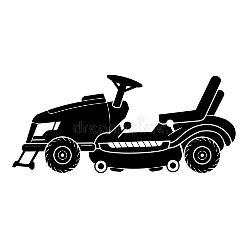 Tractor lawn mower icon, simple style. Tractor lawn mower icon. Simple illustration of tractor lawn mower vector icon for web design isolated on white background stock illustration