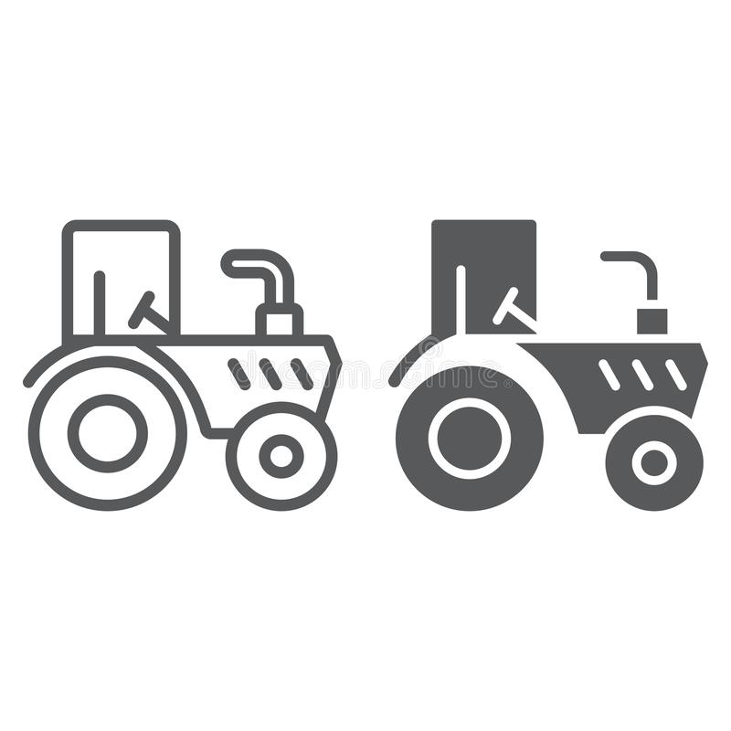 Tractor line and glyph icon, agriculture and farm, vehicle sign, vector graphics, a linear pattern on a white background. Eps 10 vector illustration